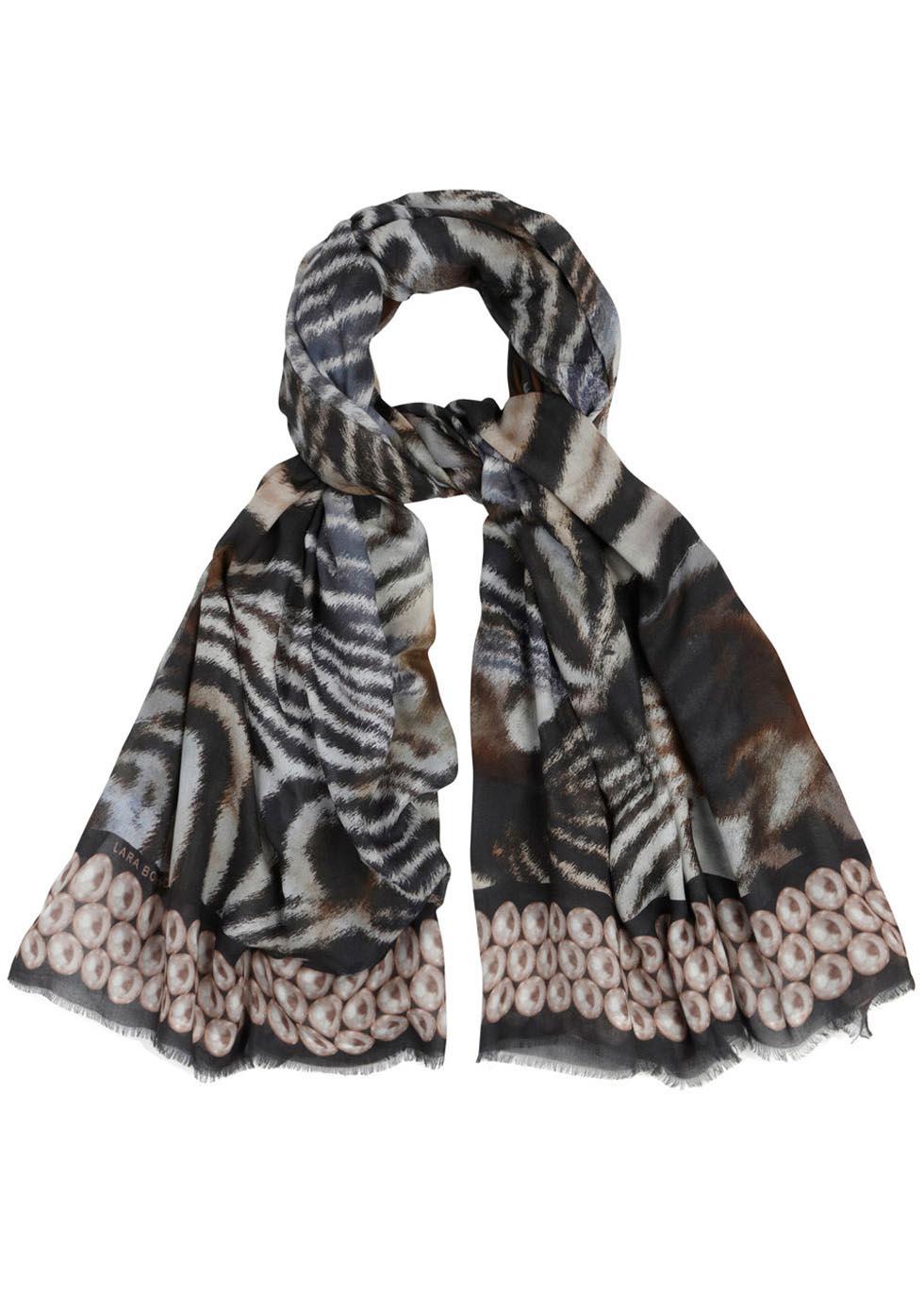 Zebra print twill scarf