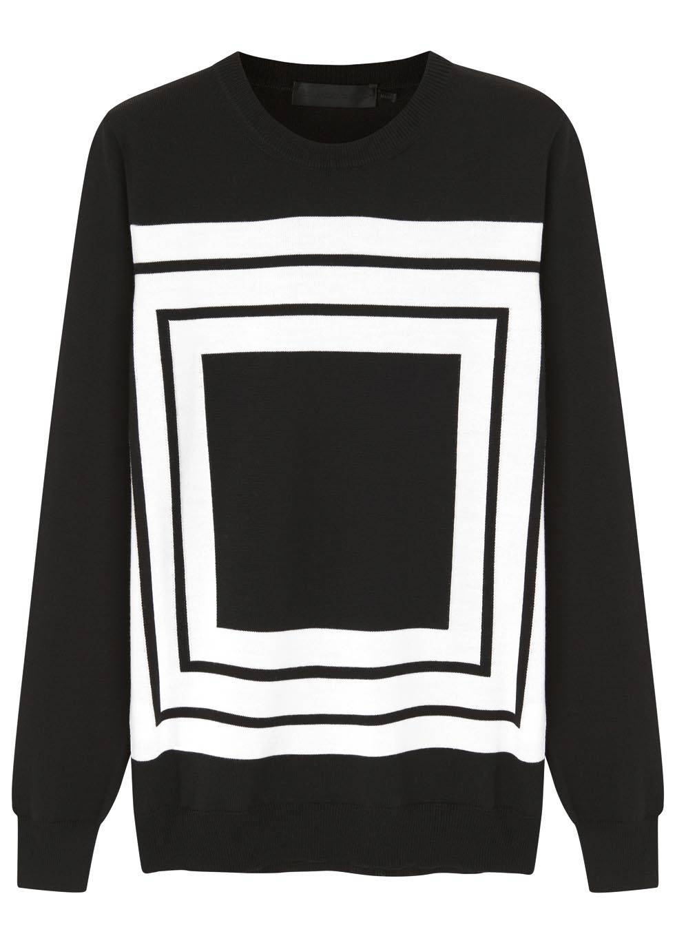 Black and white wool jumper